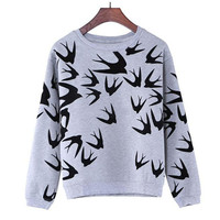 New Fashion Women Swallow Printing Long Sleeve  Sweatshirt Pullover Tops