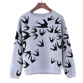 Harajuku Women Sweatshirt Korean Style Spring Autumn Swallow printed womens casual sweatshirt hoodie women harajuku sudaderas