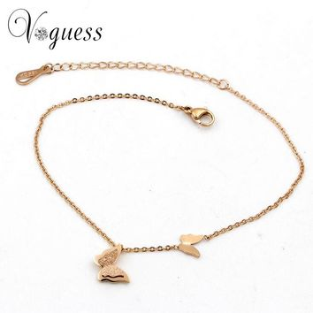VOGUESS Butterfly Pendant Ankle Bracelet Titanium Steel Anklet Beach Foot Chain For Women Girls Fashion Summer Jewelry