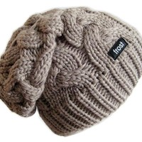 Winter Hat for Women Slouchy Beanie Cable Hat Knitted Winter Hat Frost Hats M-179 (Light Brown)