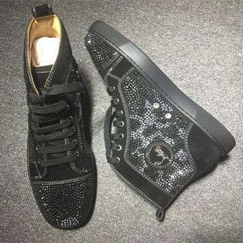Cl Christian Louboutin Rhinestone Style #1948 Sneakers Fashion Shoes