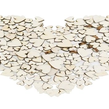 Mixed Rustic Wooden Love Heart Wedding Table Scatter Decoration 4 Sizes 100PCS