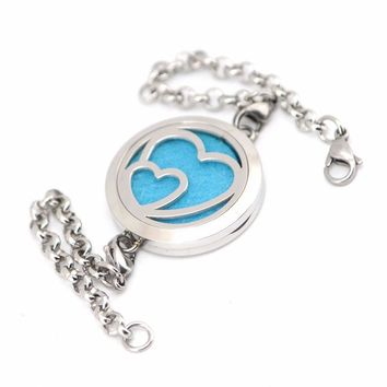 Double Heart Essential Oil Locket Bracelet (w/ 10 colored pads included)