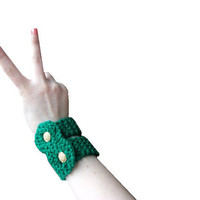 Double Arm Cuff Bracelet  Hand knit in green by StitchesandHearts