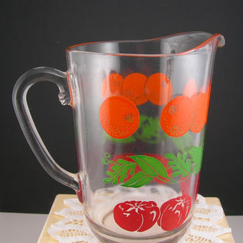 Vintage Juice Pitcher, 4 Cups or 32 Oz, Enameled Oranges, Tomatoes and Greenery, Clear Glass, Mid Century Retro Kitchen, Farmhouse Decor