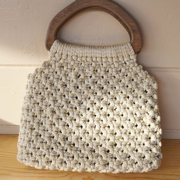 Purse Vintage Macrame Purse with Large Wooden by founditinatlanta
