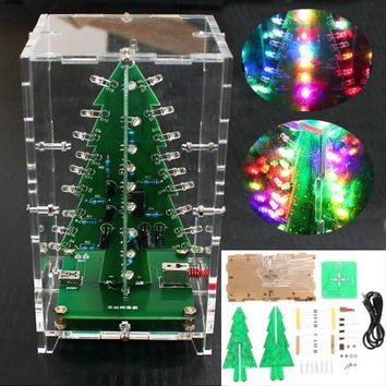 Geekcreit Christmas Tree RGB Colorful LED Flash Kit With Transparent Cover DIY Electronic Kit