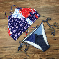 Swimsuit New Arrival Sexy Summer Beach Hot Vest Print Pattern Adjustable Bikini [10603728463]