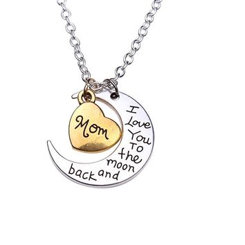 I Love You To The Moon And Back Silver Pendant Necklace