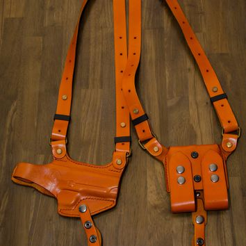 Hand Made Italian Leather HORIZONTAL  Shoulder Holster