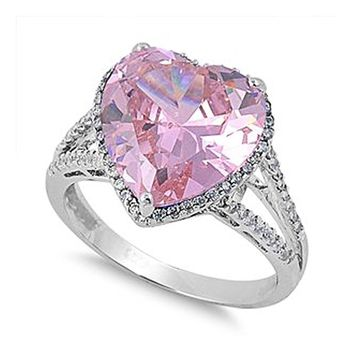 Sterling Silver Large Pink Heart Cocktail CZ Ring