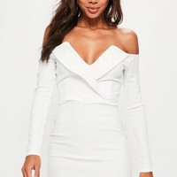 Missguided - White Bardot Foldover Wrap Dress