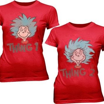 Dr. Seuss Thing 1 or Thing 2 Face Red Juniors T-shirt