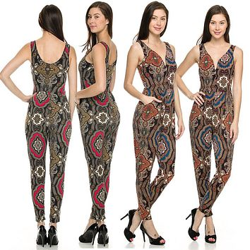 Geometric Mandala Printed V Neck Sleeveless Tank Top Jumpsuit