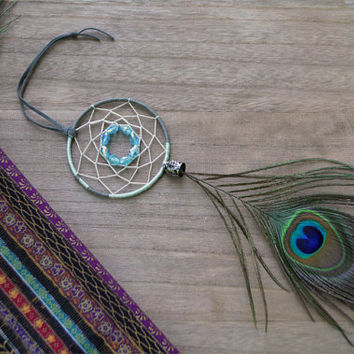 Gypsy Mini Dreamcatcher, Bohemian Style, Tribal Dream Catcher, Wall Decor, Real Peacock Feathers, Car Accessories, Bohemian Romance