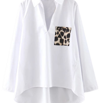 White V-neck Leopard Pocket Dipped Hem Long Sleeve Shirt