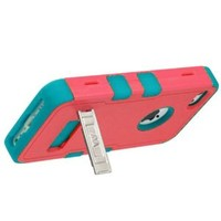 APPLE IPHONE 5C BABY RED TEAL HYBRID RIB CAGE METAL KICKSTAND COVER HARD GEL CASE from [ACCESSORY ARENA]