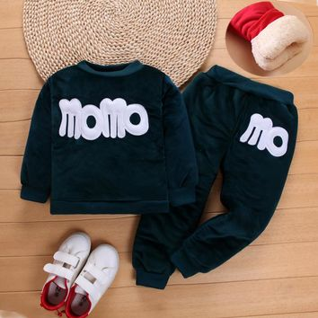 BibiCola  Autumn Winter Girls Clothing Sets Thick Cotton Kids Children Tracksuit 2Pcs Casual Sports Suits Clothes For Baby Girls