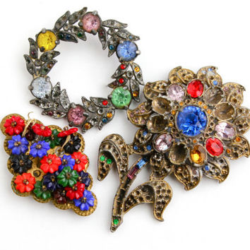 Antique Art Deco Rhinestone Brooch Repair Lot -  3 Brass & Silver Tone Colorful Broken 1930s Costume Jewelry Pins /  Czech Supplies