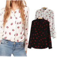 Long Sleeve Chiffon Print Lip Shirt [6123057092]
