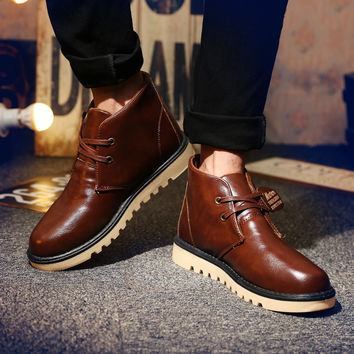 Men's Patent Leather Ankle Boots
