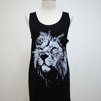 King Lion (Size M) : Smart Leo Animal t-shirt tank top Tunic Unisex Shirt Vest Women Sleeveless men Singlet Black T-Shirt
