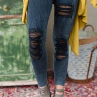Kinda Rock Denim Leggings - Gray/Black