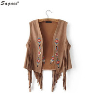 Sagace Women Boho Chamois Embroidered Floral Tassel Short Vest Artificial Leather Cardigan Outwear Cowgirl National Coat Aug30