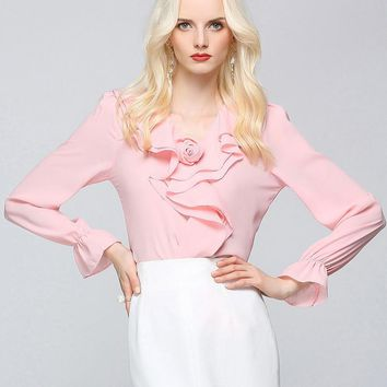 New Fashion Long Petal Sleeve Women Tops Solid Color Sexy Deep V Neck Ruffles Blouse