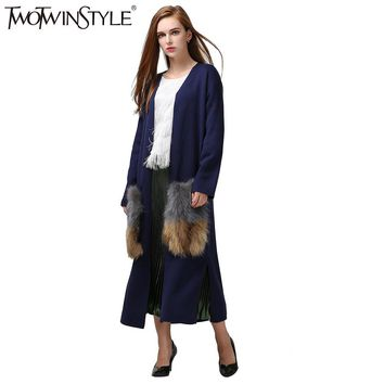 [TWOTWINSTYLE] autumn attachable natural fur pockets long cardigan trench coat for women knitted fashion Clothing New