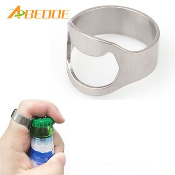 ABEDOE 1pc Silver Color Novelty Ring Bottle Opener Stainless Steel
