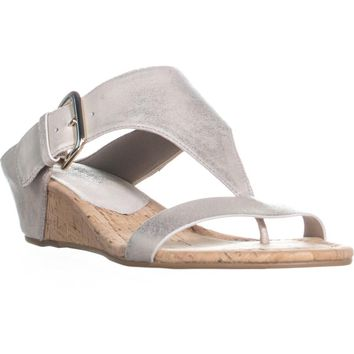 Donald J Pliner Doli4 Wedge T-Strap Sandals, Platino, 8.5 US