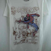 Xtreme Marvel Spiderman Comic Book Design White T-Shirt