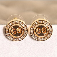 GUCCI New Fasshion Diamond Round Earring Women Golden