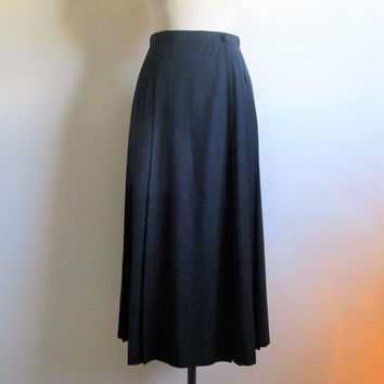 Vintage ESCADA 1980s Straight Skirt Margaretha Ley Blue-Black 80s Wool Wrap Pleated Midi Skirt 36EU