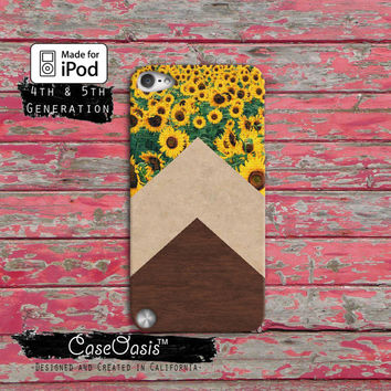 Sunflower Chevron Wood Grain Cute Pattern Tumblr Case iPod Touch 4th Generation or iPod Touch 5th Generation Rubber or Plastic Case