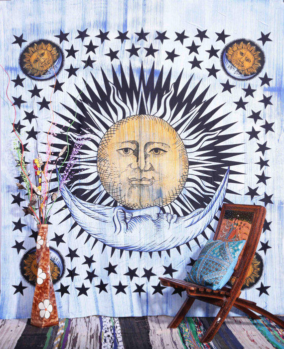 Brush Stroke Sun And Moon Tapestry, Sun from Aanjaneya on Etsy