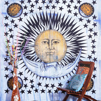 Brush Stroke Sun And Moon Tapestry, Sun Moon Stars Tapestry Wall Hanging, Hippie Wall Hanging, Ethenic Decorative Art