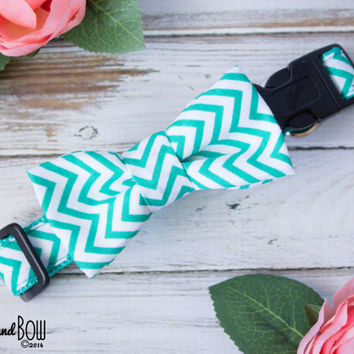 Mint Teal Chevron Dog Collar with Optional Leash, Removable Bow Tie, or Flower