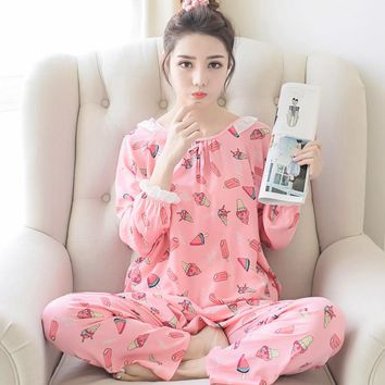 spring and autumn summer  long sleeve women's clothing sleep pajamas cotton silk loose big yards household to take S1