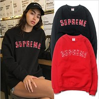 LV & Supreme tide brand joint heavy towel embroidery Chinese red caps sweater paragraph hedging sweater