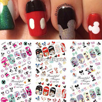 Hot Sale 3 IN 1 Water Transfer Decal Stickers Nail Art Manicure Tips Mickey Minnie Mouse 3 Sheet In One Page HOT244-246