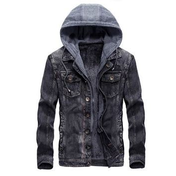 Fashion Mens Warm Denim Jackets Hooded Fleece Lined Jeans Jacket Detachable Coats