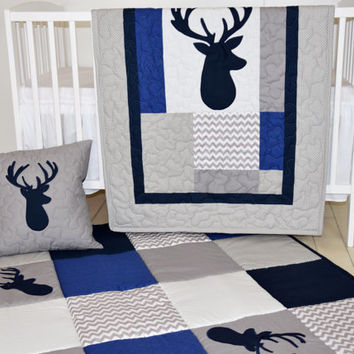 Deer Baby Bedding, Woodland Crib Quilt, Gray Navy  Baby Rug, Baby Play Mat