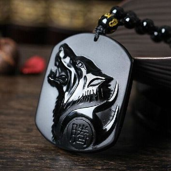 Drop Shipping Black Obsidian Carving Wolf Head Obdidian Amulet Pendant Free Necklace Obsidian Blessing Lucky Pendant Men Jewelry