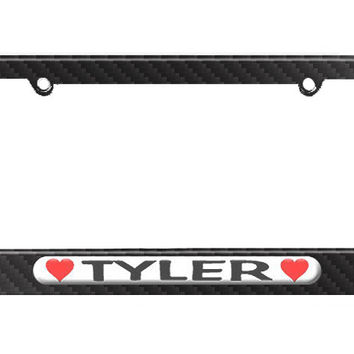 Tyler Love with Hearts License Plate Tag Frame - Carbon Fiber Patterned Finish