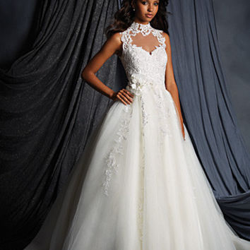 Alfred Angelo 2502 High Neck Lace Ball Gown Wedding Dress