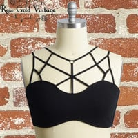 Caged Bralette - Black - Small, 1X/2X or 2X/3X only