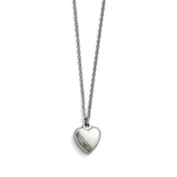 Stainless Steel Puffed Heart Pendant Necklaces - Cable Chain