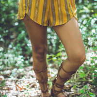 Western Print Shorts in Mustard